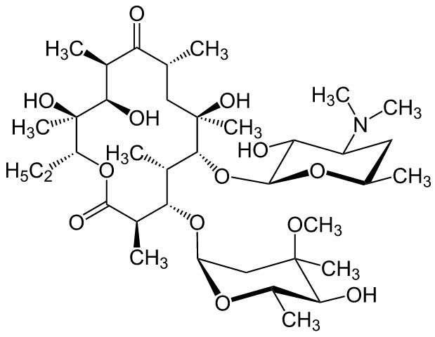 红霉素的结构式,右上角为