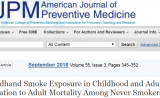 二手烟危害大!童年接触二手烟增加成年后死于肺病的风险