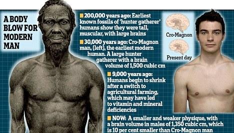 """DailyMail:科学家称人类身形及大脑一万年前开始""""逐渐变小"""""""